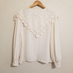 Vintage Sunny South Fashions Lace Bib Blouse